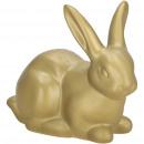Ceramic bunny Felix, L12cm, W6cm, H10cm, gold glos